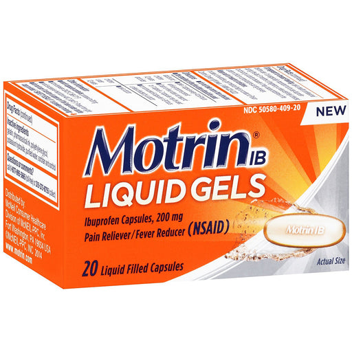 Buy Motrin IB Liquid Gels, Ibuprofen Capsules, 200 mg, 20 count online used to treat Pain Relief Medicine - Medical Conditions
