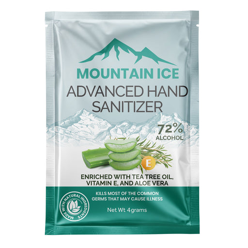Mountain Ice Hand Sanitizer with 72% Alcohol, Enriched with Tea Tree Oil, Aloe vera & Vitamin E, 4 Gram Packet - Hand Sanitizer - Mountainside Medical Equipment