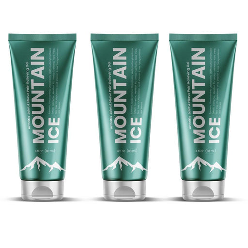 Mountain Ice All Natural Pain Relief Gel 4oz. - 3 Pack - Arthritis, Joint, Nerve, Fibromyalgia Pain Relief - Mountainside Medical Equipment