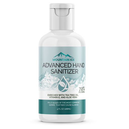 Mountain Ice Hand Sanitizer with 72% Alcohol, Enriched with Tea Tree Oil, Aloe vera & Vitamin E, 4 oz - Hand Sanitizer - Mountainside Medical Equipment