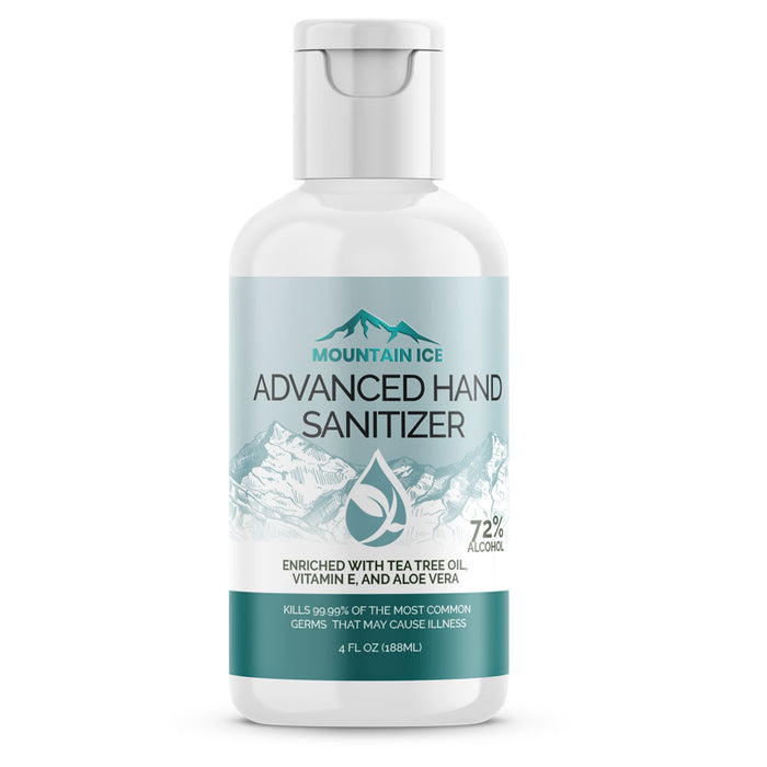 Mountain Ice Hand Sanitizer with 72% Alcohol, Enriched with Tea Tree Oil, Aloe ver & Vitamin E, 4 oz - Hand Sanitizer - Mountainside Medical Equipment