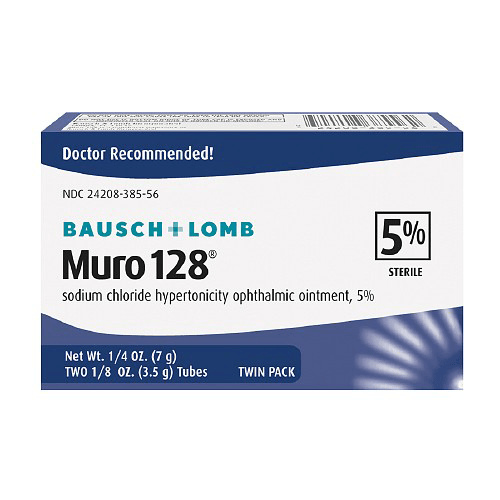 Buy Muro 128 Sodium Chloride Ophthalmic Eye Ointment 5% used for Corneal Edema Relief by Bausch & Lomb