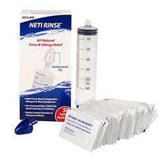 Buy Neti Rinse Cold and Allergy Nasal Flushing Syringe with 50 Saline Packets online used to treat Nasal Decongestant Syringe - Medical Conditions