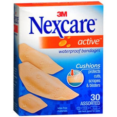 Buy Nexcare Active Extra Cushion Waterproof Assorted Bandages 30/Box online used to treat Adhesive Bandages - Medical Conditions
