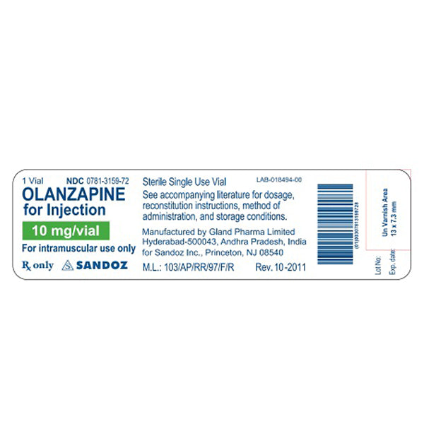 Olanzapine for Injection 1 mg x 10 Vials