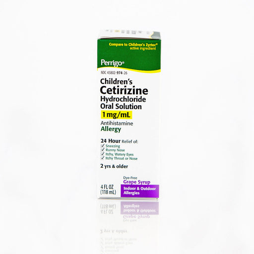 Perrigo Children's Cetirizine Hydrochloride Oral Syrup, Grape Flavor, 4 oz - Generic Zyrtec Childrens Syrup - Mountainside Medical Equipment