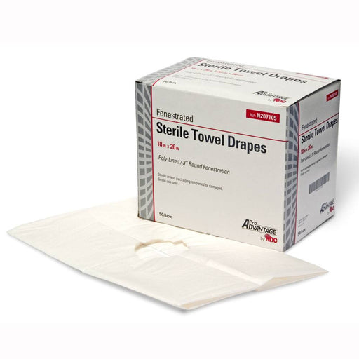 "Fenestrated Sterile Towel Drapes 18"" x 26"", 50/Box - Sterile Exam Drapes - Mountainside Medical Equipment"
