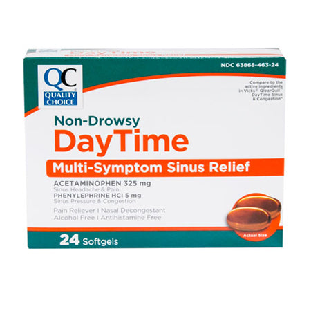 QC Daytime Multi-Symptom Sinus Relief Medicine, 24 Softgels