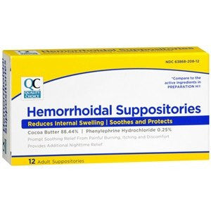 QC Hemorrhoidal Relief Suppositories with Cocoa Butter