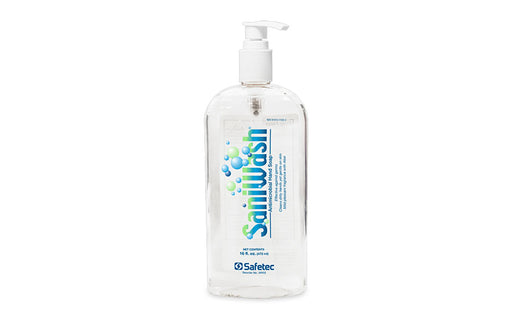 Safetec Saniwash Antimicrobial (PCMX) Hand Soap with Aloe Vera (16 oz Bottle and Pump) - Antimicrobial Hand Soap - Mountainside Medical Equipment