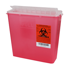 Buy Sharps Container, Economy 5 quart (Red) by Plasti-Products from a SDVOSB | Sharps Containers