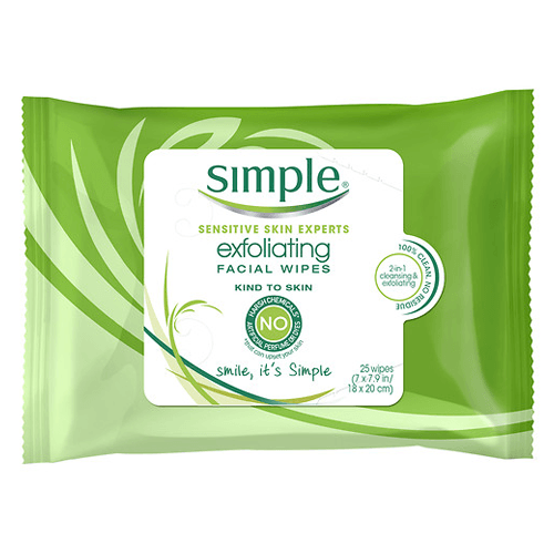 Simple Sensitive Skin Exfoliating Facial Wipes