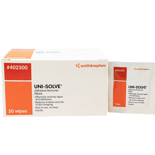 Uni-Solve Adhesive Remover Skin Wipes, 50/box - Adhesive Remover - Mountainside Medical Equipment