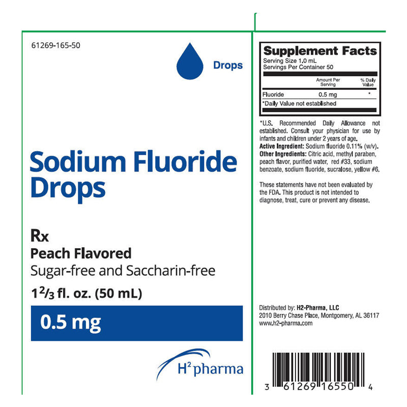 Sodium Fluoride Oral Solution Drops, Peach Flavor