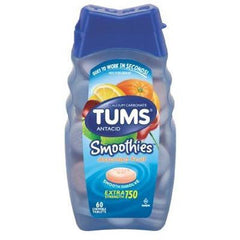 TUMS Smoothies 750mg Extra Strength Assorted Fruit Flavor for Heartburn by GlaxoSmithKline | Medical Supplies