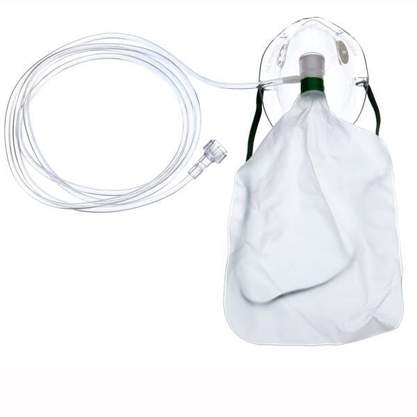 Adult Non-Rebreathing Oxygen Mask with 7' tubing, Universal Connector