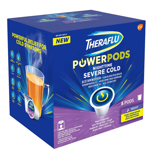 TheraFlu Power Pods K-Cup Severe Cold and Flu Relief Nighttime Formula, Honey Lemon with Chamomile & White Tea Flavor