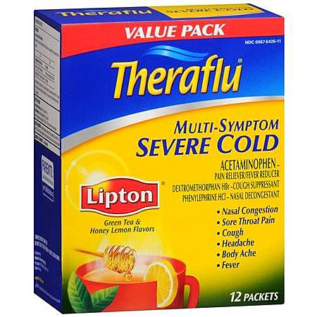 Theraflu Multi-Symptom Severe Cold Relief Medicine, Lipton Green Tea & Honey Lemon