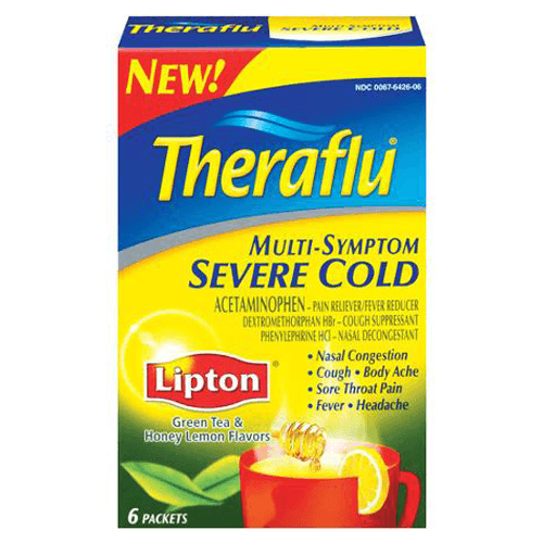 Theraflu Multi-Symptom Medicine for Severe Cold with Lipton Green Tea & Honey