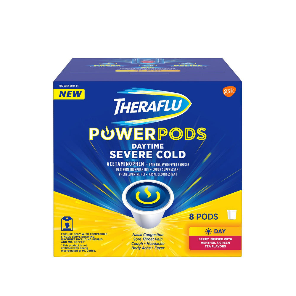 Theraflu Power Pods K-Cup Serve Cold Relief Medicine, AM Daytime Formula