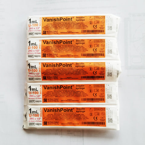 "VanishPoint Retractable Insulin Syringes, 29g x 1/2"", 100/Box"