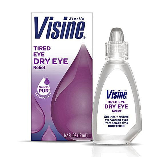Visine Tired Eye Relief Lubricant Eye Drops with GentlePUR Technology