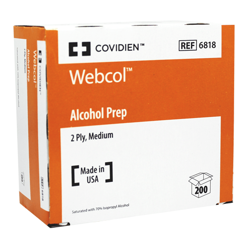Webcol Alcohol Prep Pads 2-Ply Medium 200/Box for Alcohol Prep Pads by Covidien | Medical Supplies