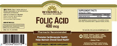 Buy Windmill Folic Acid 400 mcg Tablets, 180 Bottle online used to treat Anemia Treatment - Medical Conditions