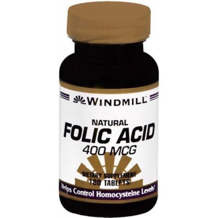 Windmill Folic Acid 400 mcg Tablets, 180 Bottle