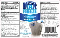Zims Max Freeze Pain Relief Roll-on with Menthol