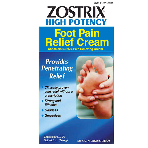 Zostrix Neuropathy Diabetic Foot Pain Relieving Cream, High Potency 2oz
