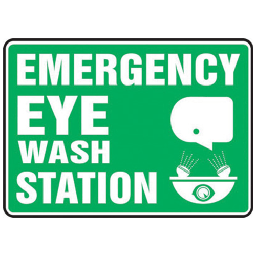 Emergency Eye Wash Station Sign 10 x 14 Adhesive Vinyl - Eye Wash Safety - Mountainside Medical Equipment