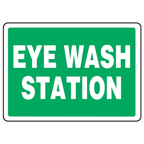 "Green Eye Wash Station 7"" x 10"", Adhesive Vinyl"