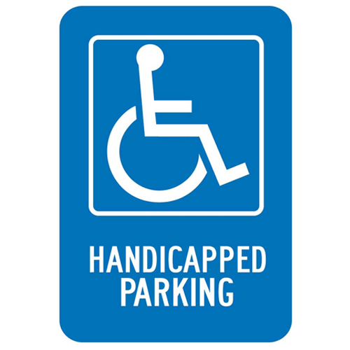 "Buy Handicapped Parking Lot Sign 18"" x 12"", Heavy-Gauge Aluminum online used to treat Wheelchairs - Medical Conditions"