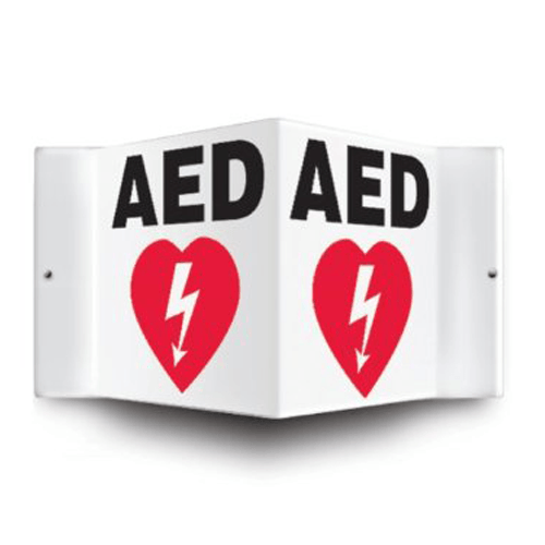 "AED Defibrillator Corner Wall Sign, Black/White, 6"" x 5"""