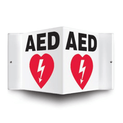 "AED Defibrillator Corner Wall Sign, Black/White, 6"" x 5"" for Defibrillators by n/a 