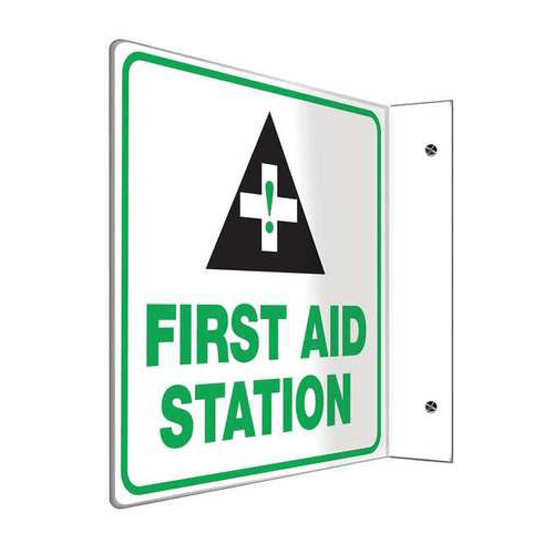 First Aid Station Projection Wall Sign, Green/Black/White