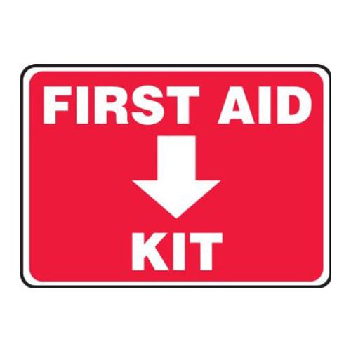 "First Aid Kit Location Sign 10"" x 14"", Adhesive Vinyl - First Aid Supplies - Mountainside Medical Equipment"