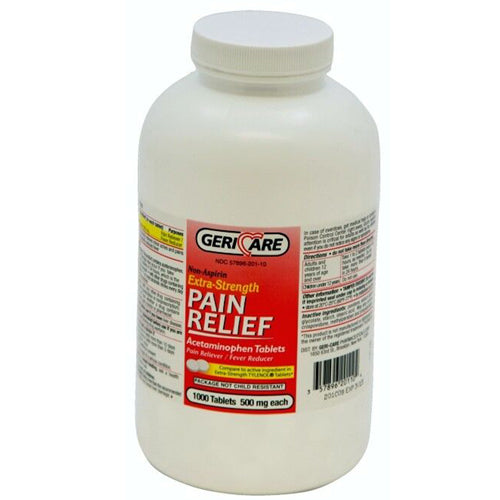 Acetaminophen 500mg Bulk Bottle 1000 Tablets - Pain Relievers - Mountainside Medical Equipment