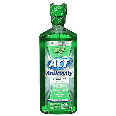 ACT Anticavity Fluoride Mouth Rinse Mint 18 oz - Antiseptic Mouth Rinse - Mountainside Medical Equipment