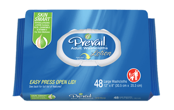 Prevail Adult Washcloth Wipes 48 Pack - Wet & Dry Wipes - Mountainside Medical Equipment