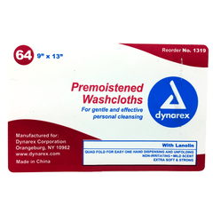 Premoistened Washcloth Wipes, Soft Pack, 64/Pack for Wet & Dry Wipes by Dynarex | Medical Supplies