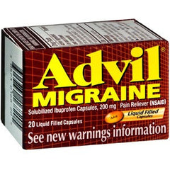 Advil Migraine Liquid Filled Capsules (20 Count) for Over the Counter Drugs by Wyeth Pfizer | Medical Supplies