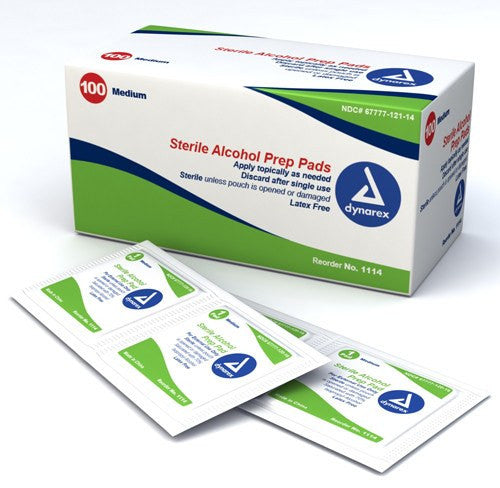 Dynarex Alcohol Prep Pads, Medium 100/Box - Alcohol Prep Pads - Mountainside Medical Equipment