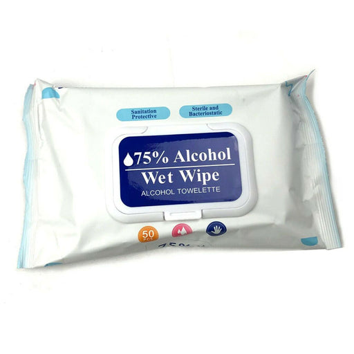 "Wet Wipes 75% Alcohol Towelettes Wipes, 6"" x 7""Size, 50/pack - PPE Wet Wipes - Mountainside Medical Equipment"