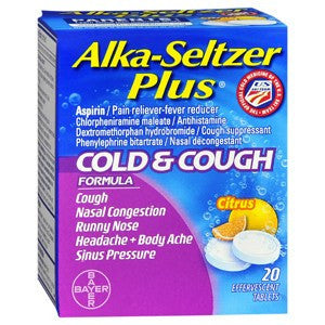 Alka-Seltzer Plus Cold & Cough Formula Citrus Flavor, 20ct