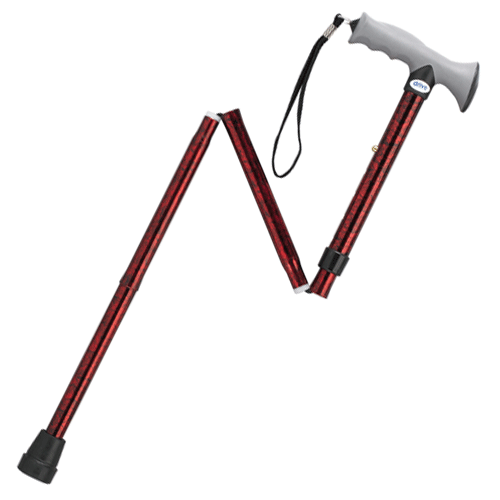 Aluminum Folding Cane with Gel Hand Grip - Canes - Mountainside Medical Equipment