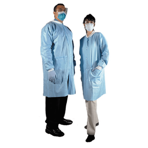 50 Disposable Laboratory Coats, Front Snap-Button, Knitted Cuffs