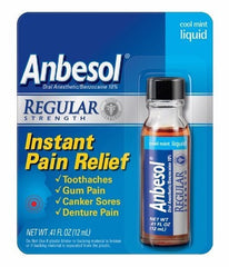 Anbesol Liquid Oral Pain Reliever Cool Mint for Cold Sores by Wyeth Pfizer | Medical Supplies
