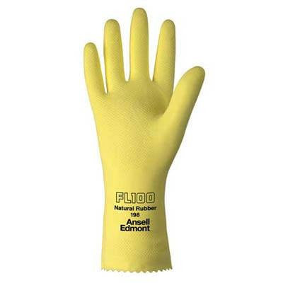 Ansell FL100 Yellow Chemical Resistant Latex Gloves